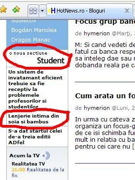 Titluri in bara de navigare in noua sectiune Student